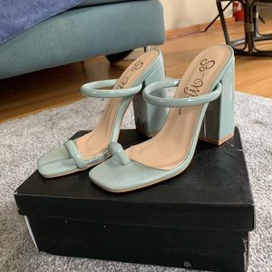 Mint Strappy Block Heel Sandal